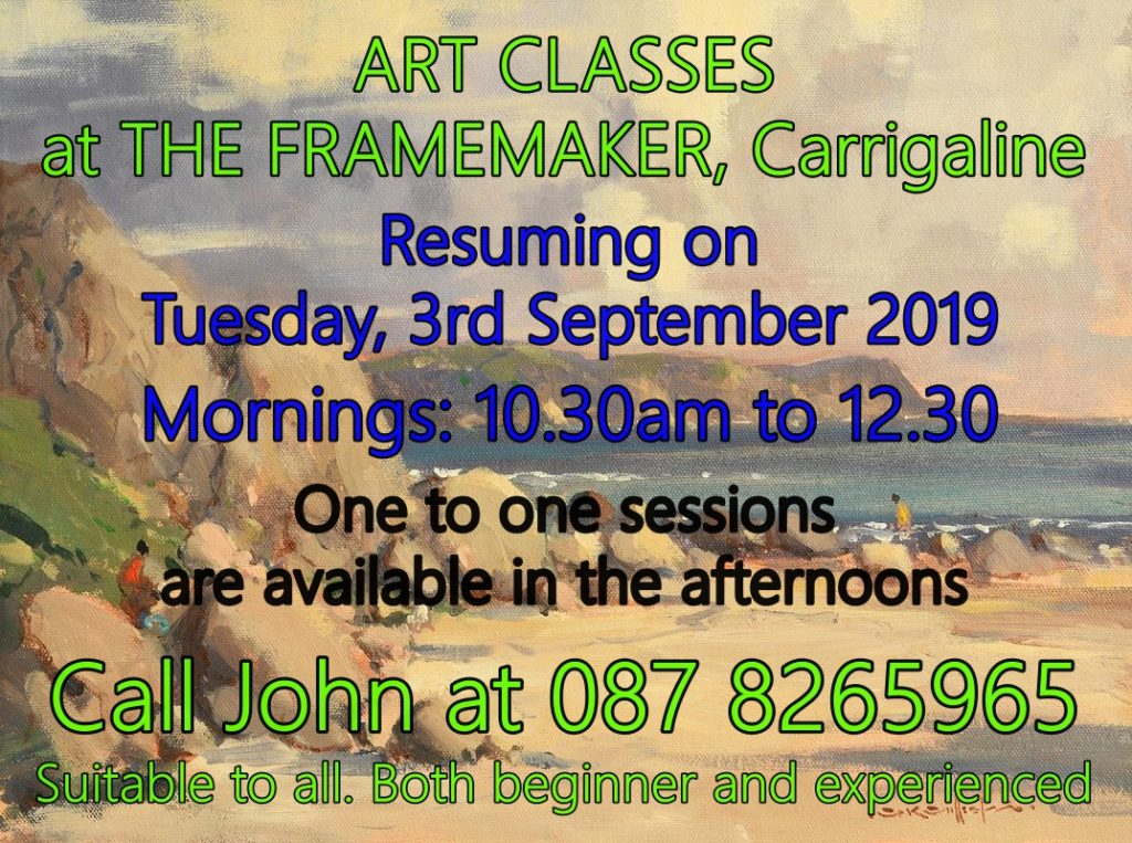 ART CLASSES AT THE FRAMEMAKER, CARRIGALINE