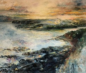 'To Ringabella and Beyond, from Poul Gorm', Coast Road, Myrtleville/Fountainstown, County Cork, Ireland. Large painting, size 120 x 100 cm (48 x 40 inches). FOR SALE. Euro 2800